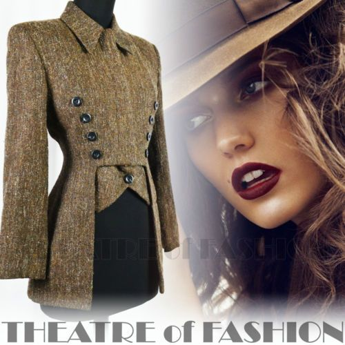 Vintage Karen Millen Corset Tailcoat Riding Coat Jacket Tweed Victorian 40s 30s   eBay
