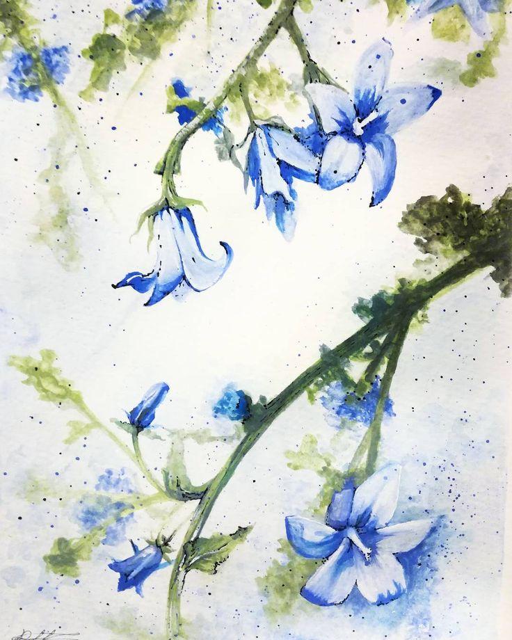 """🌼🌼🌼 #drawing #flowers #art #sketch #watercolor #blue"""