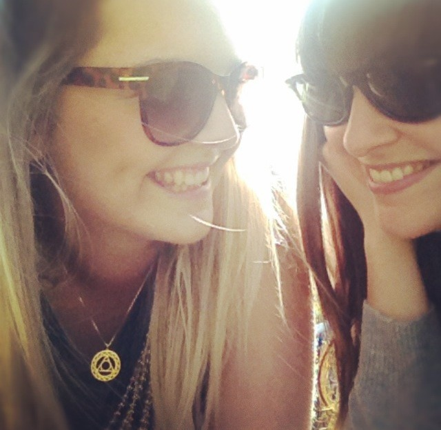 @RuthBewsey Gold Throat Chakra Pendant, H & M sunglasses, best friend Franny