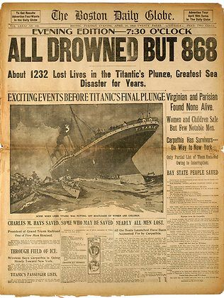 Original Titanic ticket sells for $54,000 | The front page of the April 16, 1912 evening edition of the Boston Globe, detailing the Titanic disaster, was among a collection of newspapers put up for auction by Bonhams during their Titanic: 100 Years of Fact and Fiction auction. Picture: AP