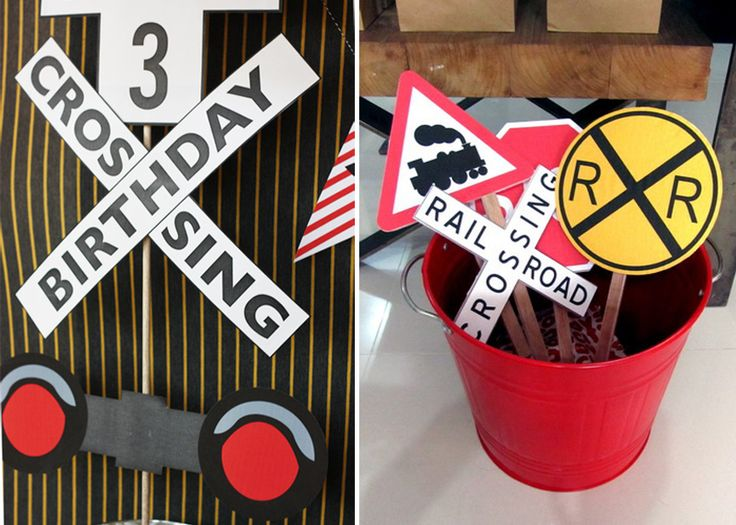 From Kids Party Hub blog - some of my favorite ideas for Train Birthday Party Decorations