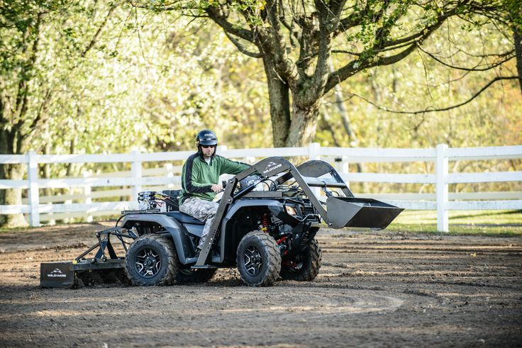 Wild Hare ATV attachments Front End Loader with grading Box Blade on back, country living tool