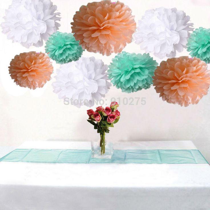 Упаковка из 18 смешанные белый персик монетный двор папиросной бумаги пом англичане свадьба декоративный цветок день рождения ну вечеринку детская украшения