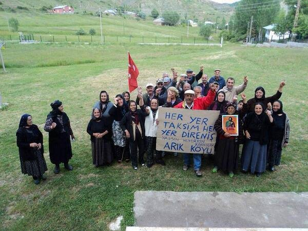 we are still smiling - Her yer Taksim, her yer direnis. (Taksim is everywhere, everywhere is resistance.) Turkish villagers show their support.