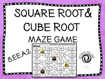 This maze game is for practicing square roots and cube roots. It is a short and easy way for students to practice square roots and cube roots and to have fun while doing it.Included in this product:-3 maze game, one is only square roots, one is only cube roots, and one is square roots and cube roots mixed.-3 Answer Keys-Teacher DirectionsDownload a preview to get a feel for the quality of work you will be getting.You might also like:Square Root and Cube Root Tic-Tac-Toe GameCombining Like…