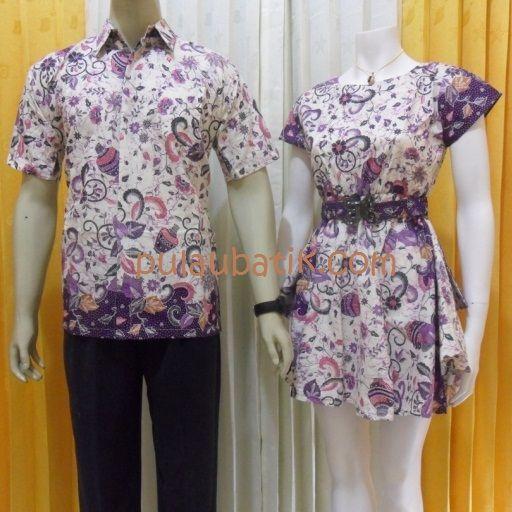 Model batik kerja terbaru pasangan couple mini dress dan kemeja pria lengan pendek