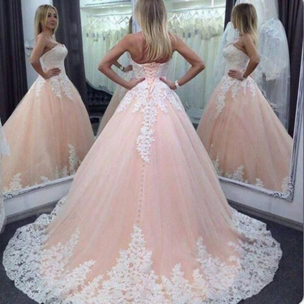 2016 Vintage Pink Lace Tulle Long Wedding Dress,