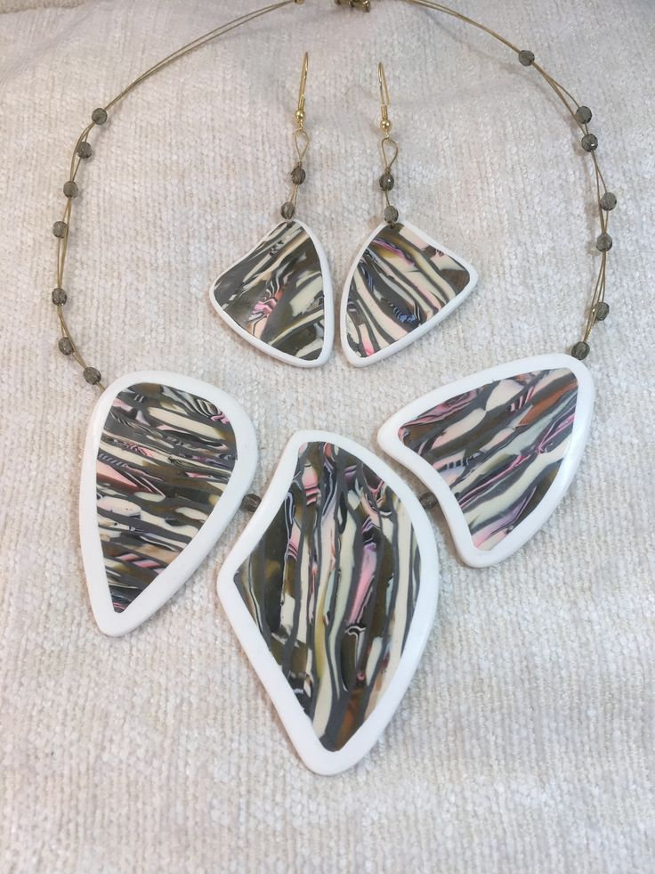Stunning unusual triple beaded necklace in a camouflage pattern, made from polymer clay with a matching pair of earrings, Gift for her. by DebbeadsJewellery on Etsy https://www.etsy.com/uk/listing/538342232/stunning-unusual-triple-beaded-necklace