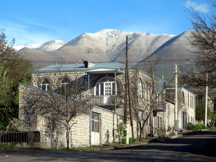 Nineteenth century Russian buildings line Mashtots Street at Goris in southeastern Armenia.
