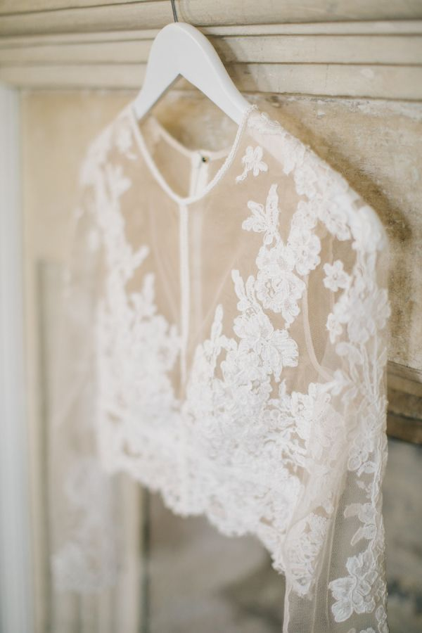 Lace sleeve two piece wedding dress: http://www.stylemepretty.com/2015/11/17/fashionable-english-garden-wedding-at-barnsley-house/ | Photography: M and J Photos - http://www.mandjphotos.com/#photo-4453