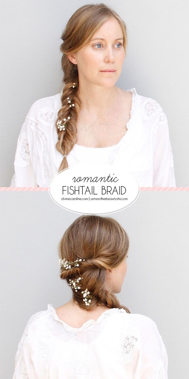 Flowers or not, this boho fishtail braid is perfectly romantic for a wedding, garden party, or summer date night! #boho #braids #hair