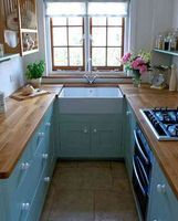 small kitchen design idea - A small room needs all the light it can get, so keep the window not only unadorned, but also free of clutter.