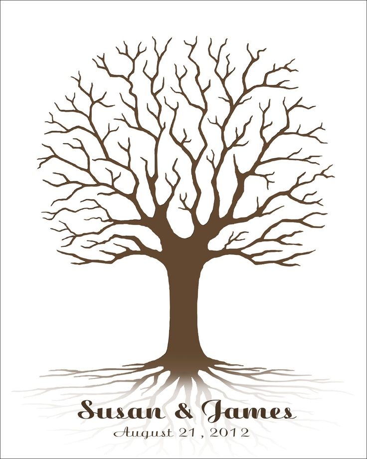 Small Fingerprint Live Oak Tree Wedding Guest Book Hand Drawn: 246 Best Images About Fingerprint Tree And Such On
