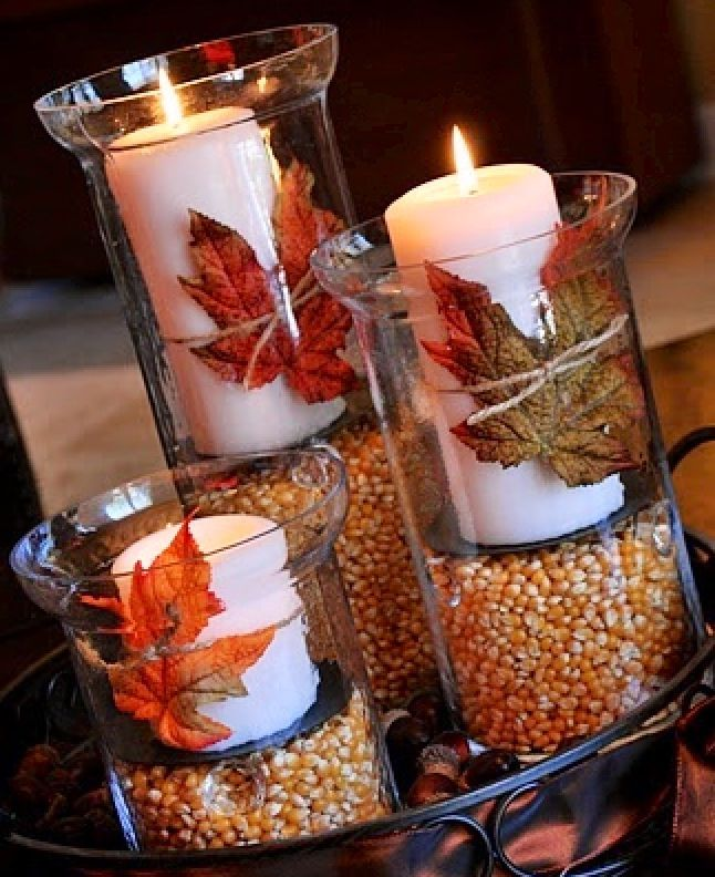 Autumn/Fall Gather some fall leaves and corn to ornate your candle holders