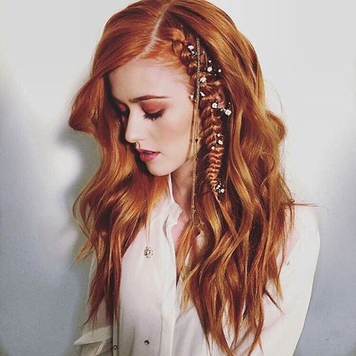 katherine mcnamara debuts a fierce braid for her latest photo shoot mortal instruments. Black Bedroom Furniture Sets. Home Design Ideas