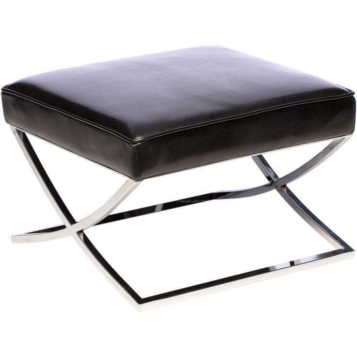Add a contemporary touch to your living room with this modern Black Leather Ottoman. Made from fully dyed thru cow leather with a polyurethane coating and featuring a polished steel frame, this ottoman is as great-looking as it is comfortable.