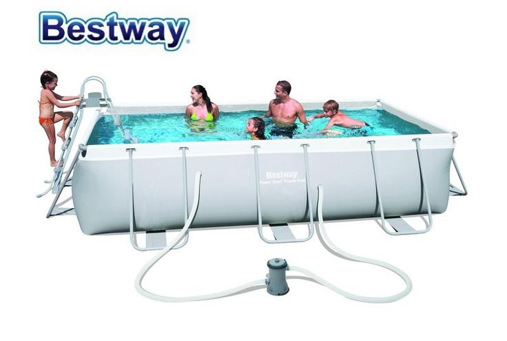 [Visit to Buy] 404*201*100cm Bestway large swimming pool #56441/Rectangular Frame Pool for home & baby/Above Ground Pool for children & Parent #Advertisement