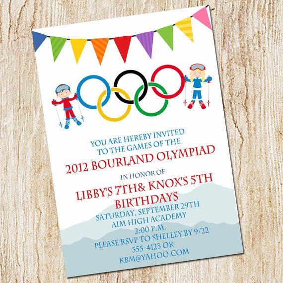 Olympic Party invitation Winter Olympics Birthday by peachymommy, $15.00