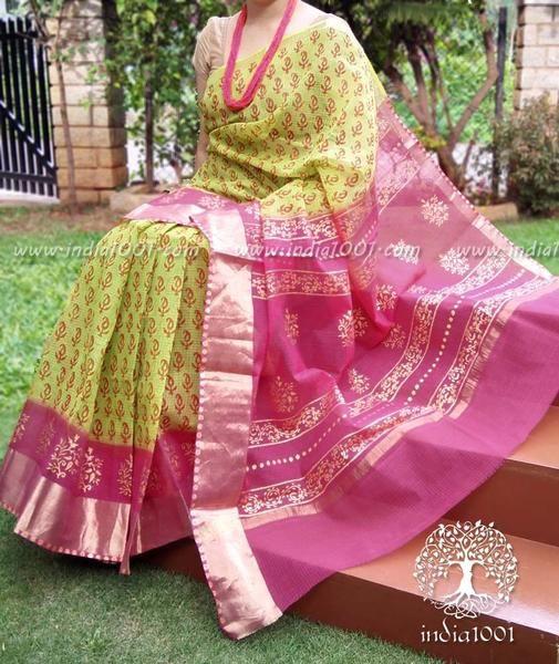 Elegant Kota Cotton Saree with block print and zari border