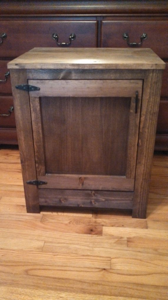 Wood night stand furniture reclaimed rustic wood for Homemade kitchen cabinets