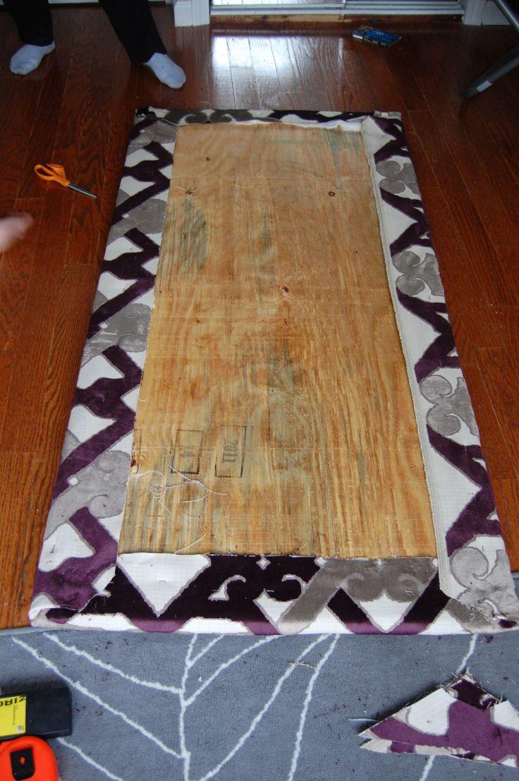 DIY Headboard: plywood, foam, batting, fabric, staple gun, wall mount