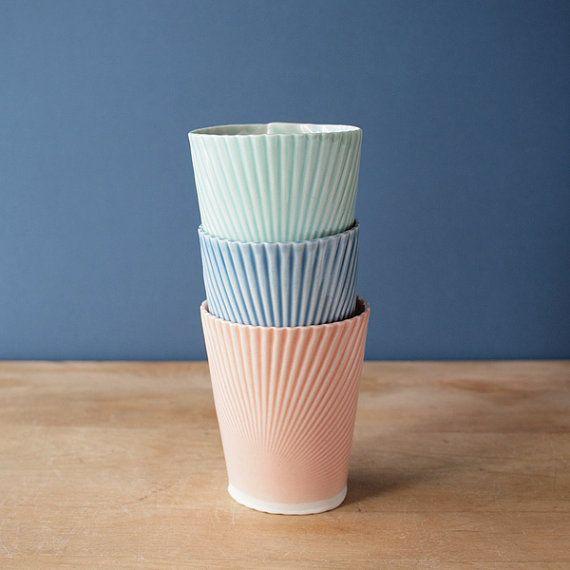 porcelain tumblers mint blue teal by villarrealceramics on Etsy, $25.00
