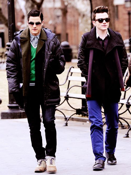 Darren Criss and Chris Colfer on the set of Glee (March 14th)