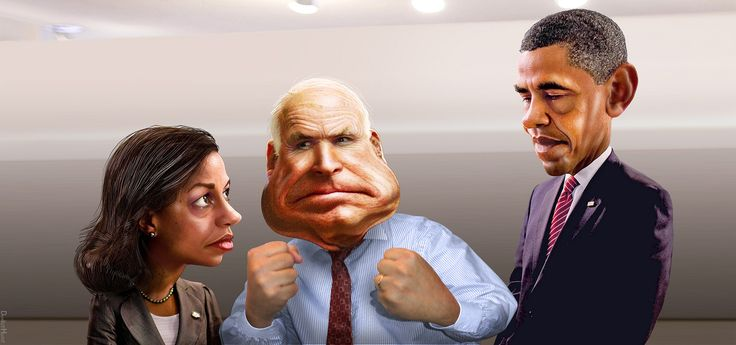  McCain teaches Obama about civility and bipartisanship   Senator John McCain is calling for a Watergate style investigation into the attack on Benghazi.   Susan Elizabeth Rice, aka Susan Rice, is the United States Ambassador to the United Nations in the Obama Administration. John Sidney McCain III, aka John McCain, is a Republican United States Senator from Arizona. He was the Republican presidential nominee in the 2008 United States election.Barack Hussein Obama I...