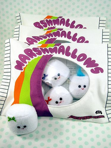 Reserved for Katie.A Bag of Marshmallows in Plush..multi-coloured marshmallows