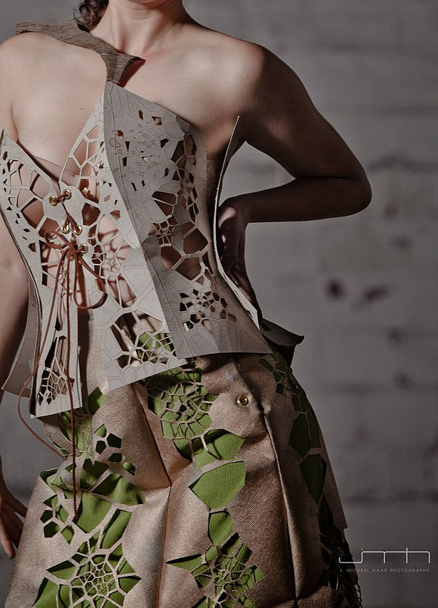 The materials used in this dress include: chipboard, Tyvek, and cotton muslin