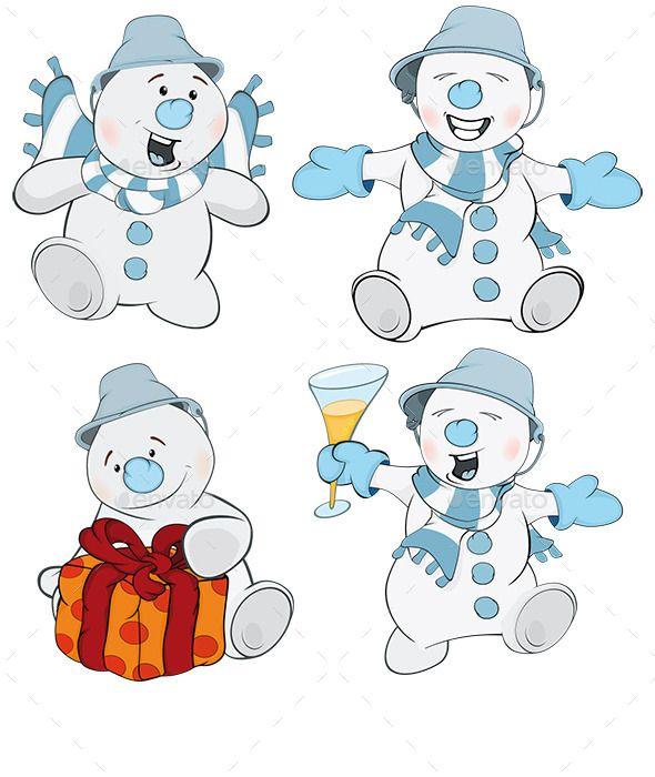 Set of Christmas Snowman Cartoons