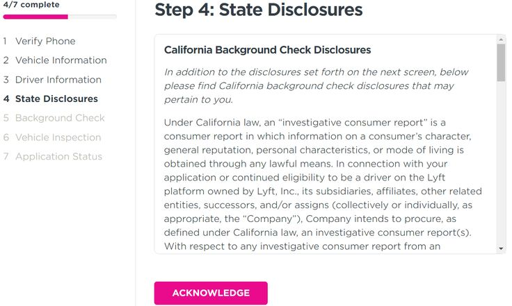 Driver application - authorizing Background check