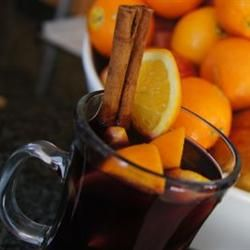 I wanted to make this for company coming over this evening but it's going to be 64 degrees at 5pm.  Damned Climate Change!  I'll have to wait until it gets colder. Hot Spiced Christmas Wine Allrecipes.com