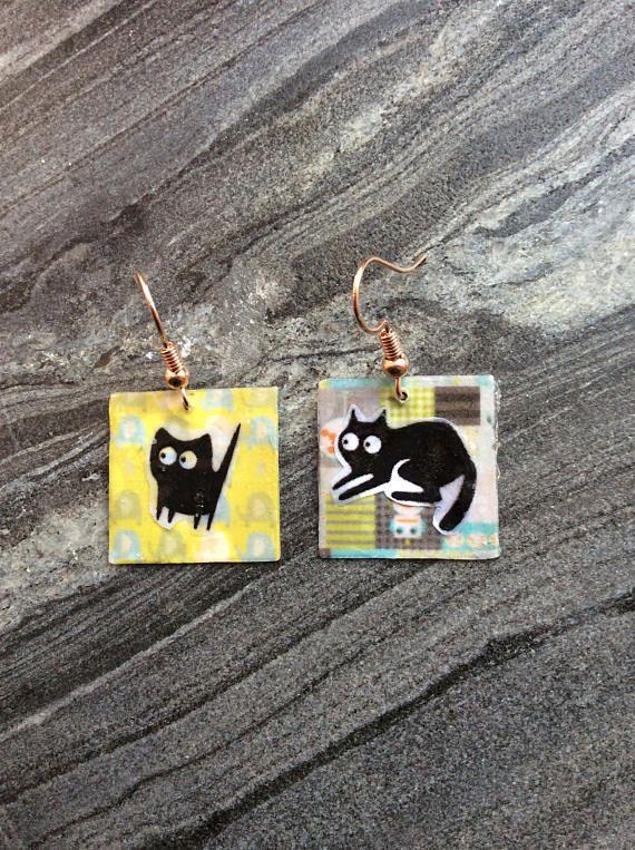 Cat earrings square earrings funky earrings