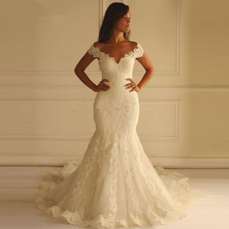 Sexy Off Shoulder Mermaid Lace Wedding Party Dresses, Unique Back Design Bridal Gown, WD0035