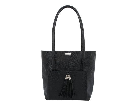 Leather tote Black Lizard Leather Tote Bag Black Tote by MONAObags