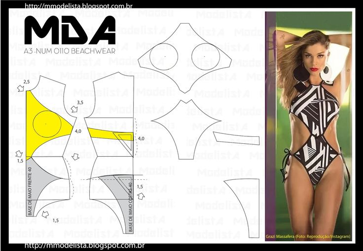 Portuguese site with illustration showing how to create a pattern for this swimsuit