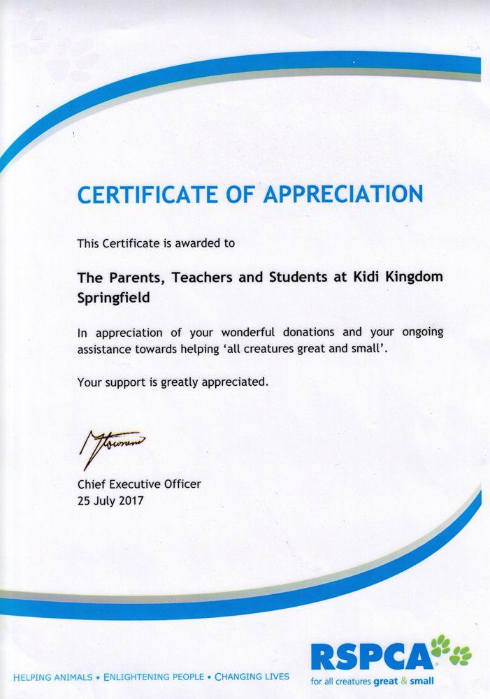 Certificates Awarded To Kidi Kingdom Child Care Springfield