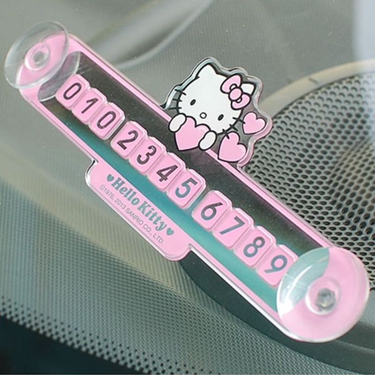 Sanrio Hello Kitty Car Parking Number Plate Temporary Phone Number Car Accessory #HelloKitty