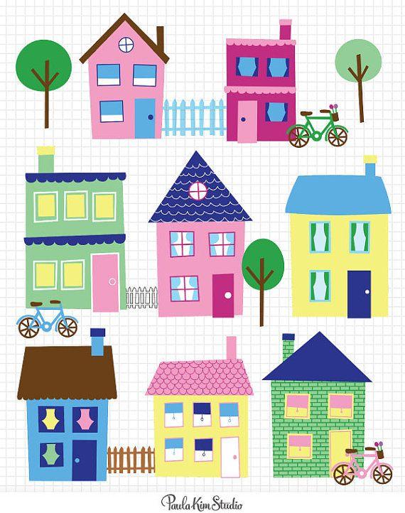 SALE - 60% OFF - House Clip Art Neighborhood Clipart Town Clip Art Downloadable Images Clipart Instant Digital Download Graphics