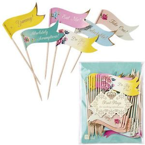 Truly Scrumptious 24x Canape Cupcake Cake Food Flags Picks Vintage Tea Party  | eBay