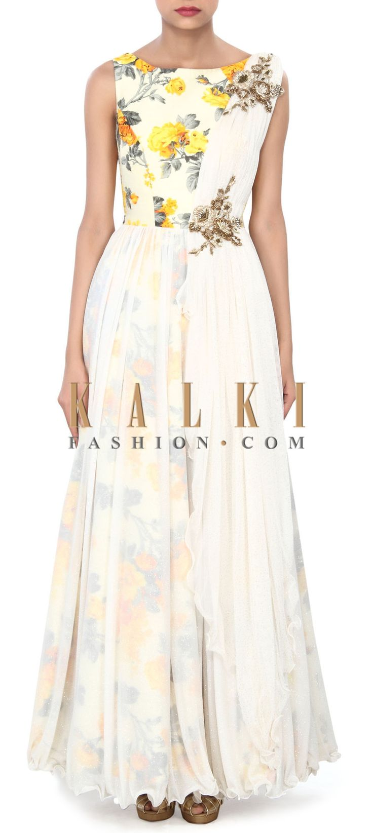Buy Online from the link below. We ship worldwide (Free Shipping over US$100) Price- $319 Click Anywhere to Tag http://www.kalkifashion.com/white-gown-enhanced-in-floral-print-and-attach-dupatta-only-on-kalki.html