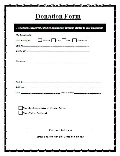 donation sheets templates