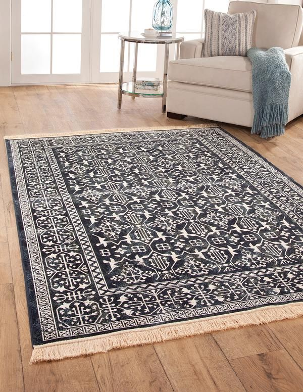 Modern Navy Blue And White Persian Style Fringe Rug With Images