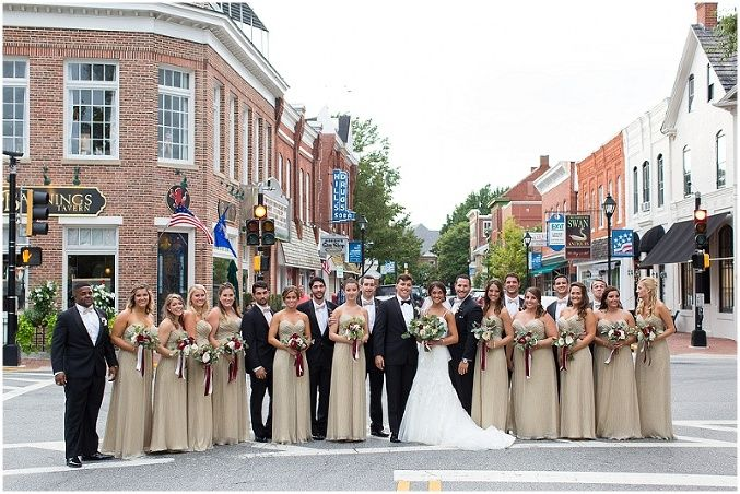Bridal party in downtown Easton Maryland. The Tidewater Inn Wedding Photography. Laura's Focus Photography.