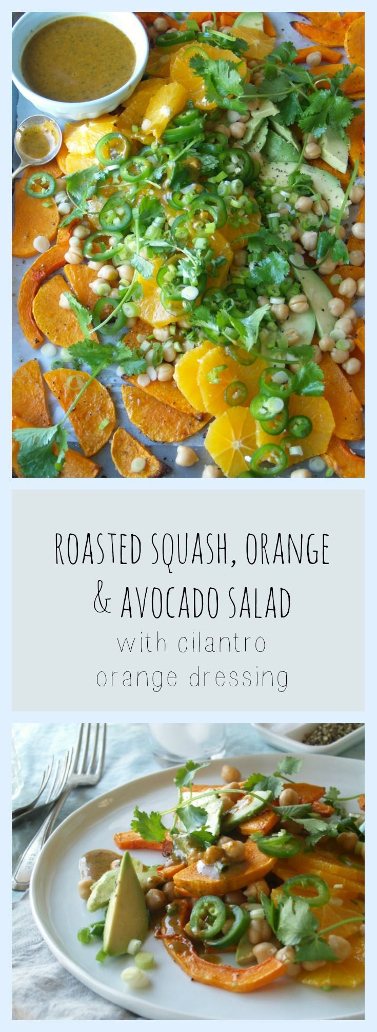 Loaded with the goodness of Vitamin C & served with a delicious smoky cilantro dressing, you need to be making this roasted squash, orange, avocado, jalapeno & chick pea salad.
