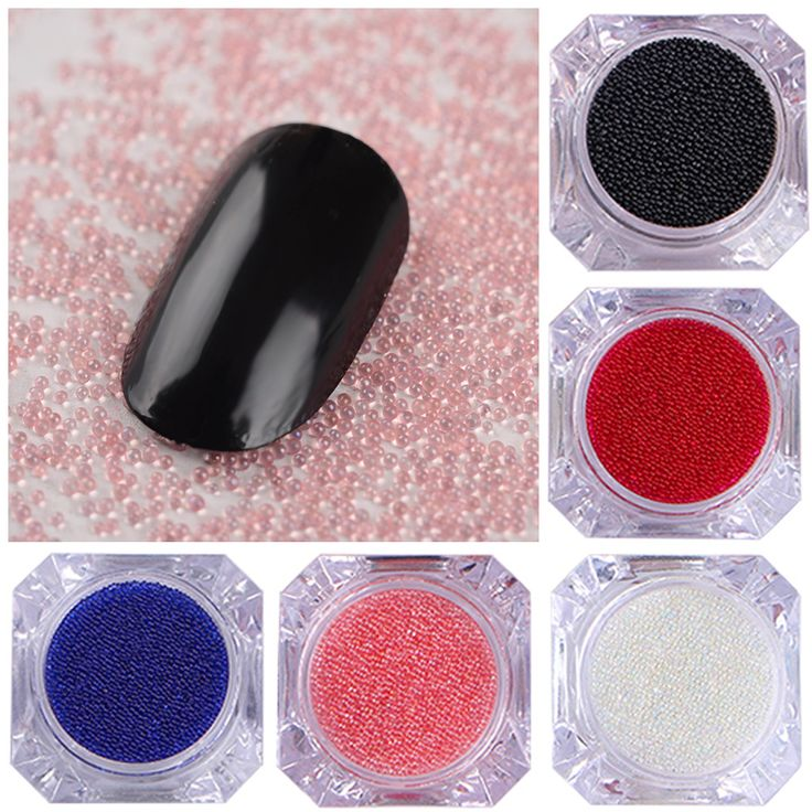 1 Box Clear Caviar Nail Art Beads Colorful 3D Glass Nail Rhinestones Manicure Nail Art Decorations 12 Colors