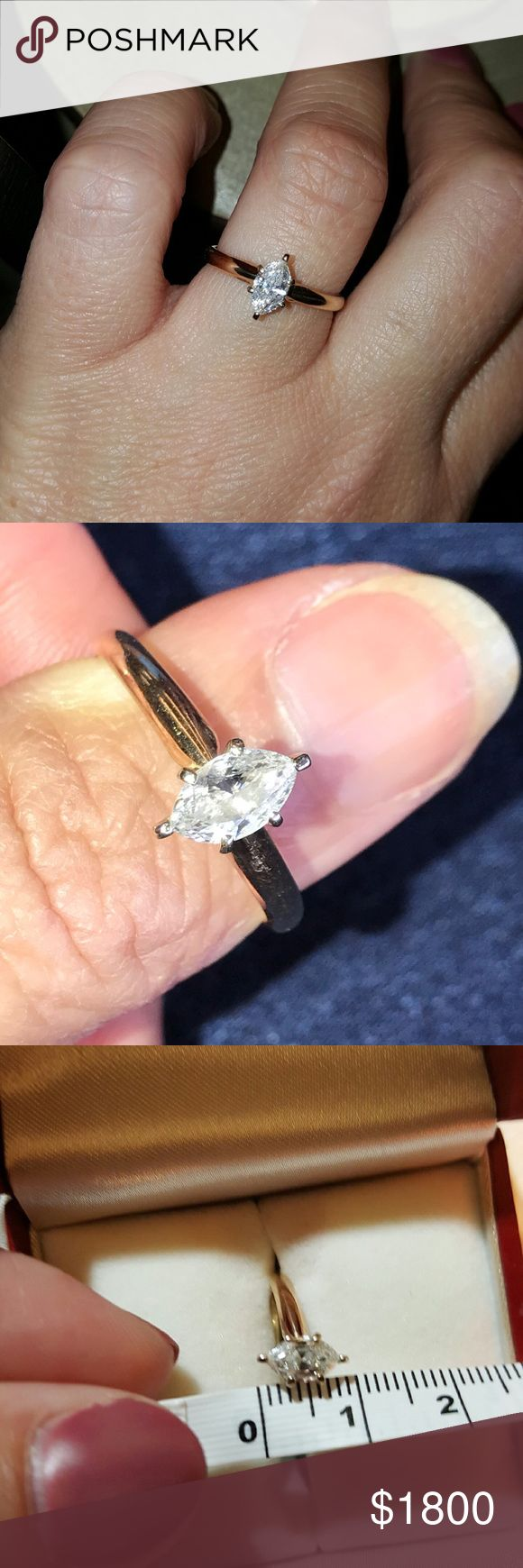 HUGE TRADE FOR TWILLIAMS Beautiful diamond ring in 14 kt yellow gold! 3/4ct. Great clarity and color on this beauty. 3/4 ct of this size and quality would retail from 1800-3200. Gorgous ring!!! Sz 7.5 but sizable up or down. Tv 2200 trading also a sterling wedding set, white gold pearl necklace, new Kirby mk purse for 3-stone 1-carat diamond ring, 3/4 ct diamond marquis, heart diamond, clothing. 2-aldo purses. Jewelry Rings