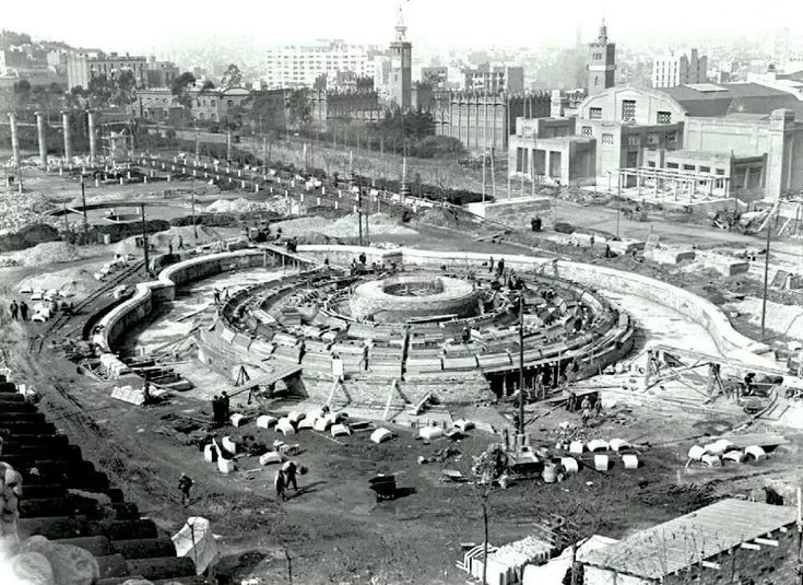 Construcció Font de Montjuïc (1928). Barcelona
