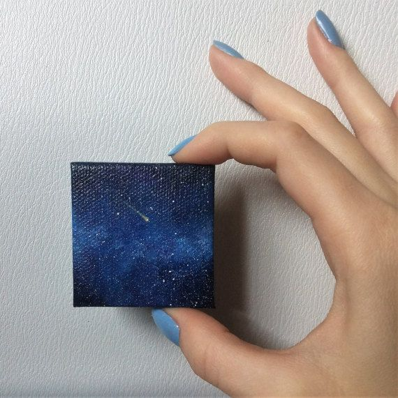 Outer Space Hand Painted Fridge Magnet. Tiny Painting Miniature Painting, Space Art, Space Magnet Starry Sky, Galaxy Space Painting Mini Art